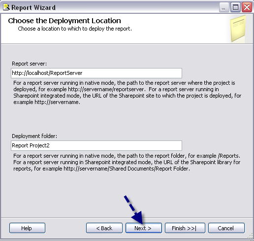 R. Select the default locations for the Report