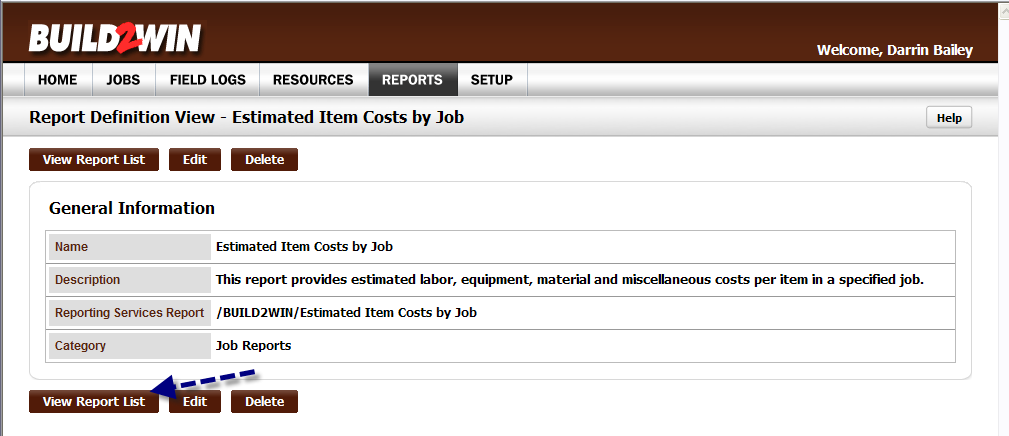 C. Drop down the combo box arrow and select /BUILD2WIN/Estimated Item Costs by Job.