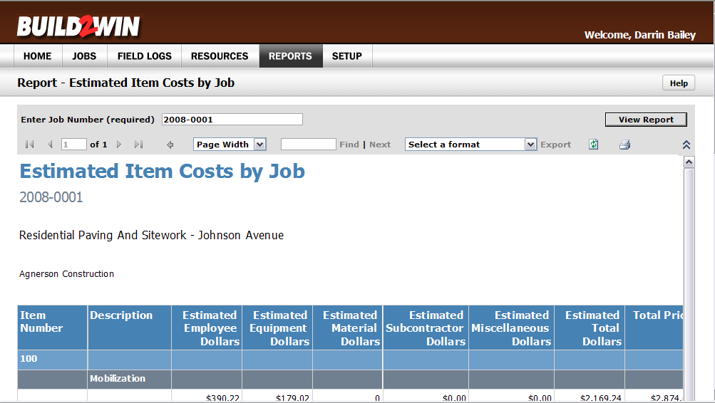 E. Click on Item Costs by Job to view the report in BUILD2WIN.