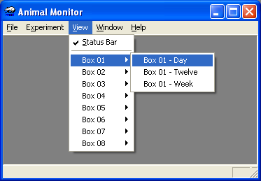 View Menu Options Figure 3.8 - View Pull Down Menu The View menu allows the user to select which windows and or graphs of data to view.