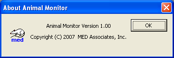 Help Menu Options Figure 3-10 - Help Pull Down Menu About Figure 3-11 Animal Monitor Copyright And