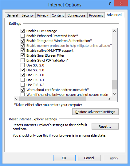 vi. Confirm your PC settings of Internet Options and Internet Properties.