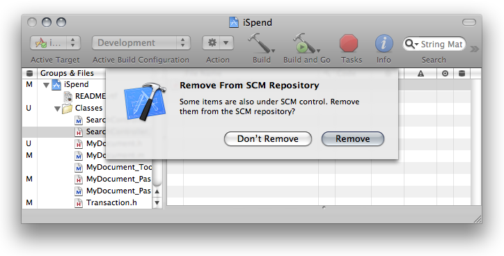 Managing Files Under Source Control If you choose to delete the file, the Remove From SCM Repository dialog, shown in The Remove From SCM Repository dialog, appears.