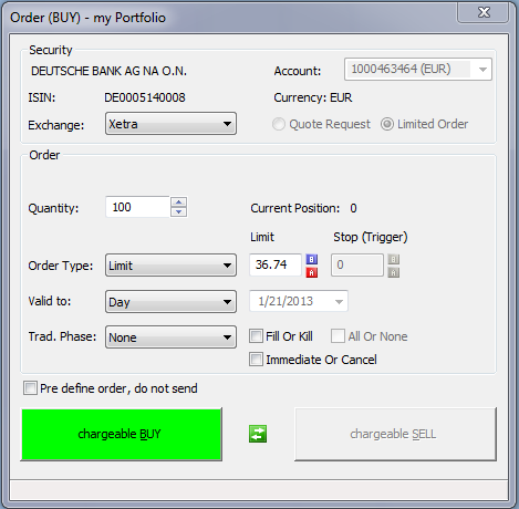 The Order (BUY) or Order (SELL) dialog is displayed. If you want to switch from a BUY dialog to a SELL dialog (or the other way round), click on.