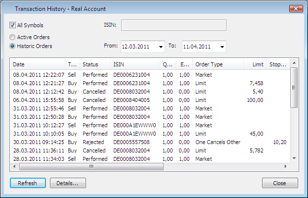 Accessing the Transaction History The transaction history shows all transactions (orders) for your portfolio.