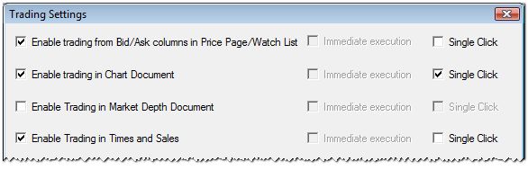Changing the Trading Settings You can change the behavior of the ViTrade trading integration you can deactivate trading from some document types, enable single-click trading for more ease of use,