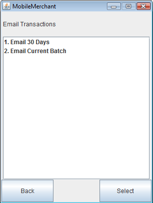 4. Email Transactions: In the Email Transactions screen, the user can email transactions in the last 30 days