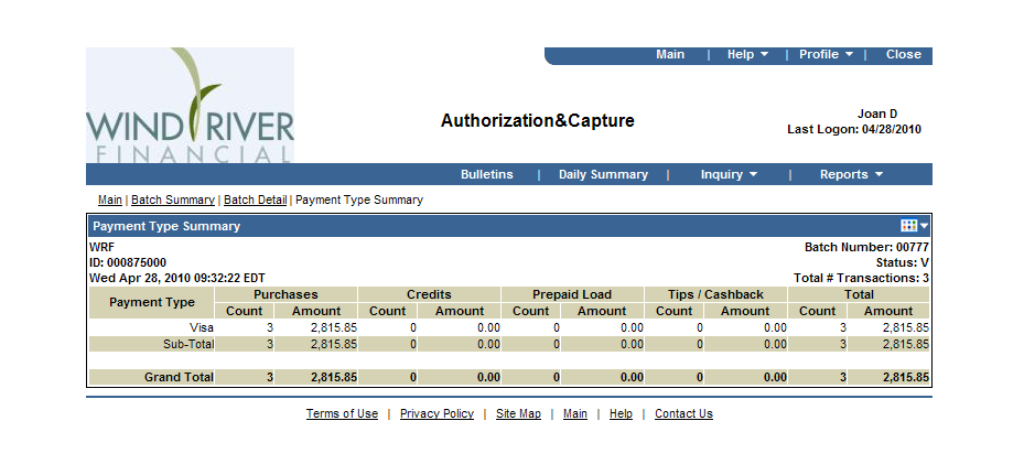 Authorization & Capture Cont d Payment Type Summary Screen Single Merchant Account Access - Only Click on the Batch Total (see page 15) to view the totals for each card type processed within that