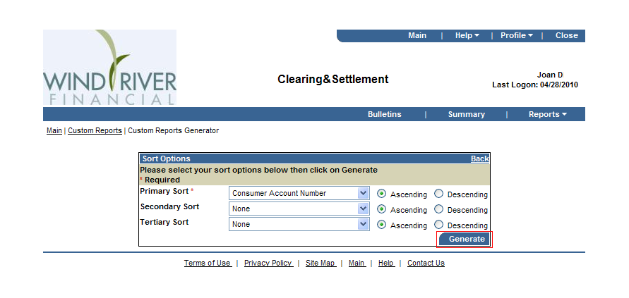 Clearing & Settlement Cont d Custom Reports Generator