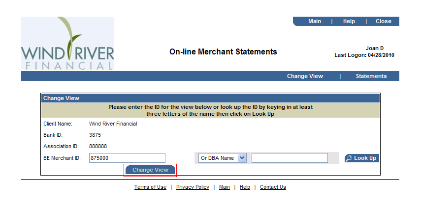 Merchant Statements Cont d Merchant Account Selection Screen Association-Level (Multiple Merchant Account) Access Enter