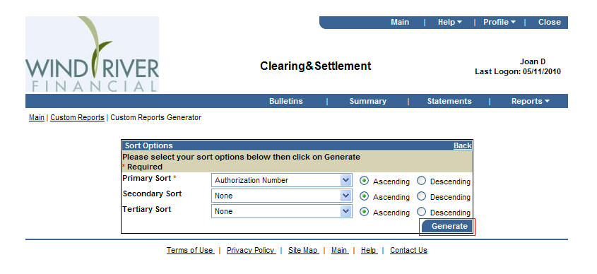 Clearing & Settlement Custom Report Generator Screen