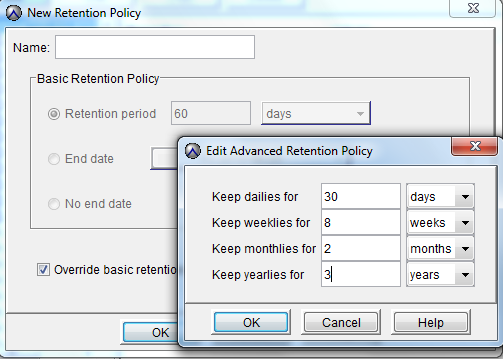 Manage Less Retention Policies Manage retentions per policy - not per client Choose # of days to keep data, or a specific end date, or Specify