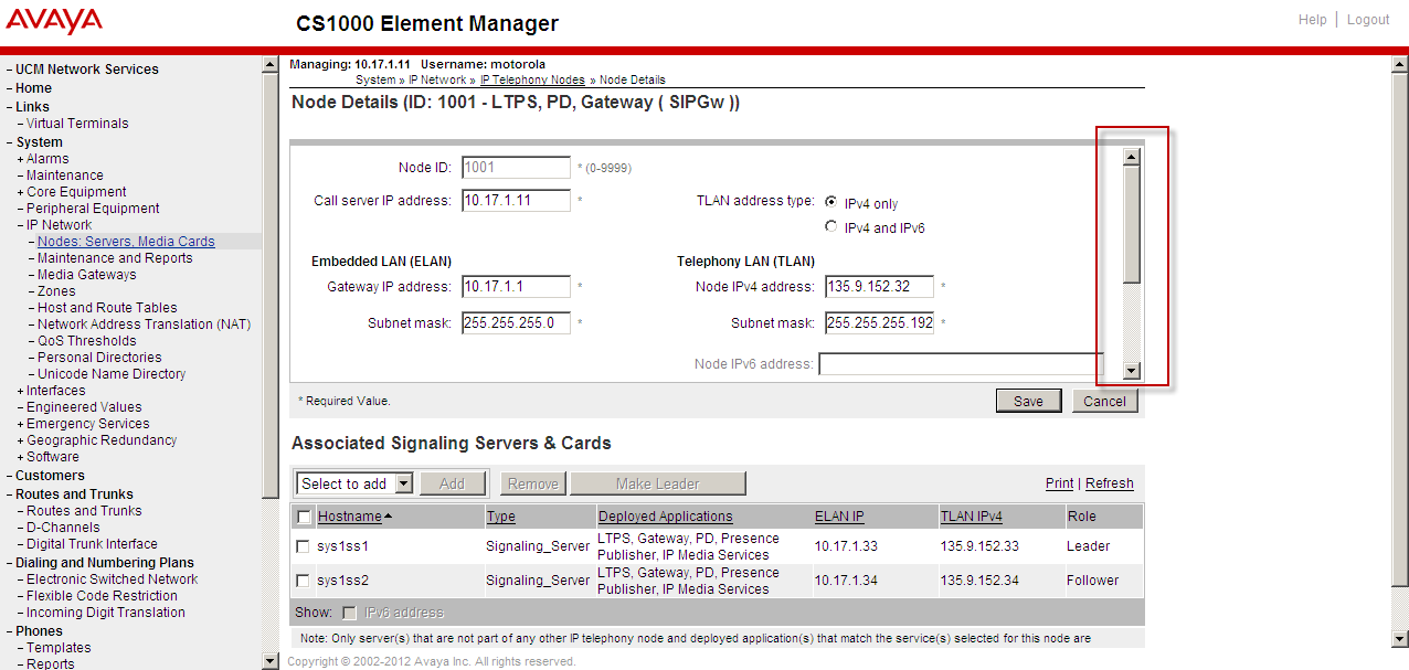 4. Next click on System/IP Network link on the left hand side menu on the CS1000 Element Manager to expand the menu. 5.