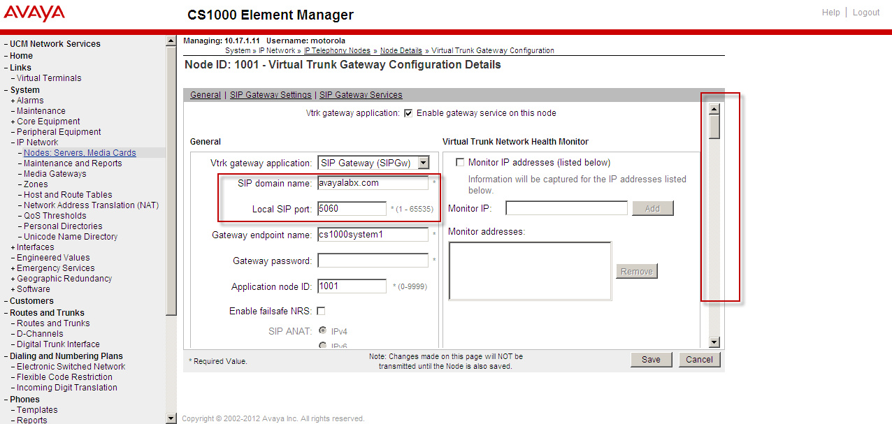 7. Scroll down the highlighted box to find the Gateway link. Click on Gateway link for the SIP trunk configuration.