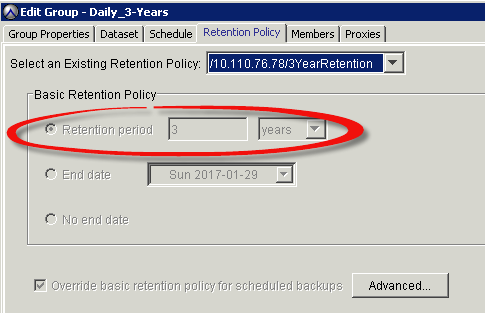 Chapter 4: Data Protection Services The Schedule tab shows the backup interval and time, as highlighted in Figure 35.