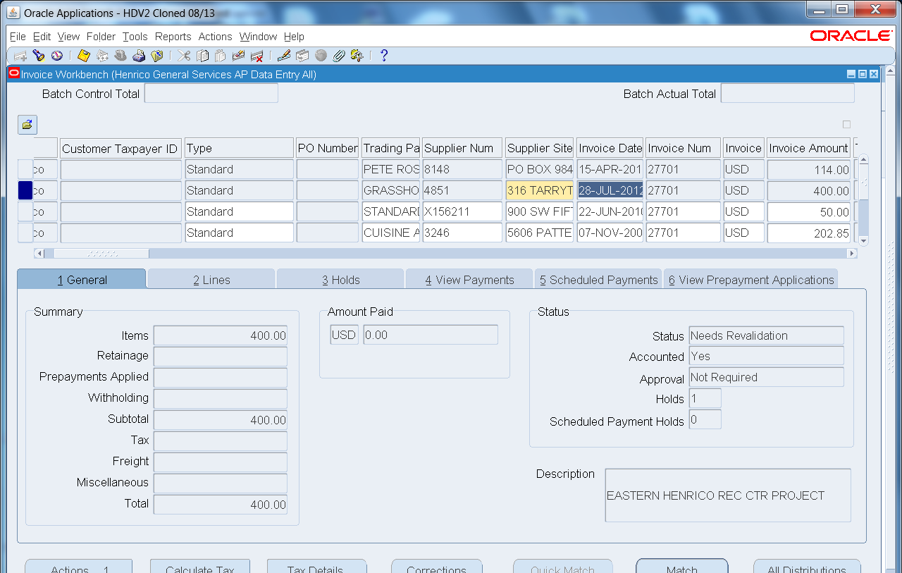 Enter your query parameters. You can query any field shown in white on the Find Invoices form.