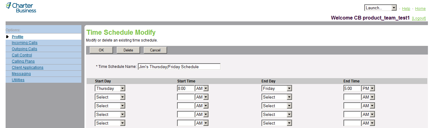 Figure 10 Time Schedule Time Schedule Modify 1) On the User Profile menu page, click Time Schedule. The User Time Schedule page appears. 2) Click Edit in the row for the entry.