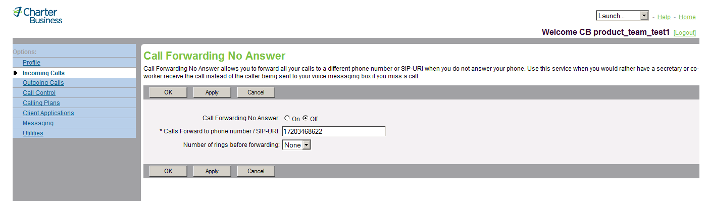3.6 Call Forwarding No Answer 3.6.1 Turn Call Forwarding No Answer On and Off Use this menu item on the User Incoming Calls page to turn Call Forwarding No Answer on and off.