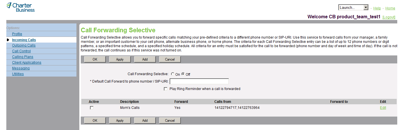 NOTE: There are different Call Waiting ring patterns associated with each of the four Alternate Number ring patterns.