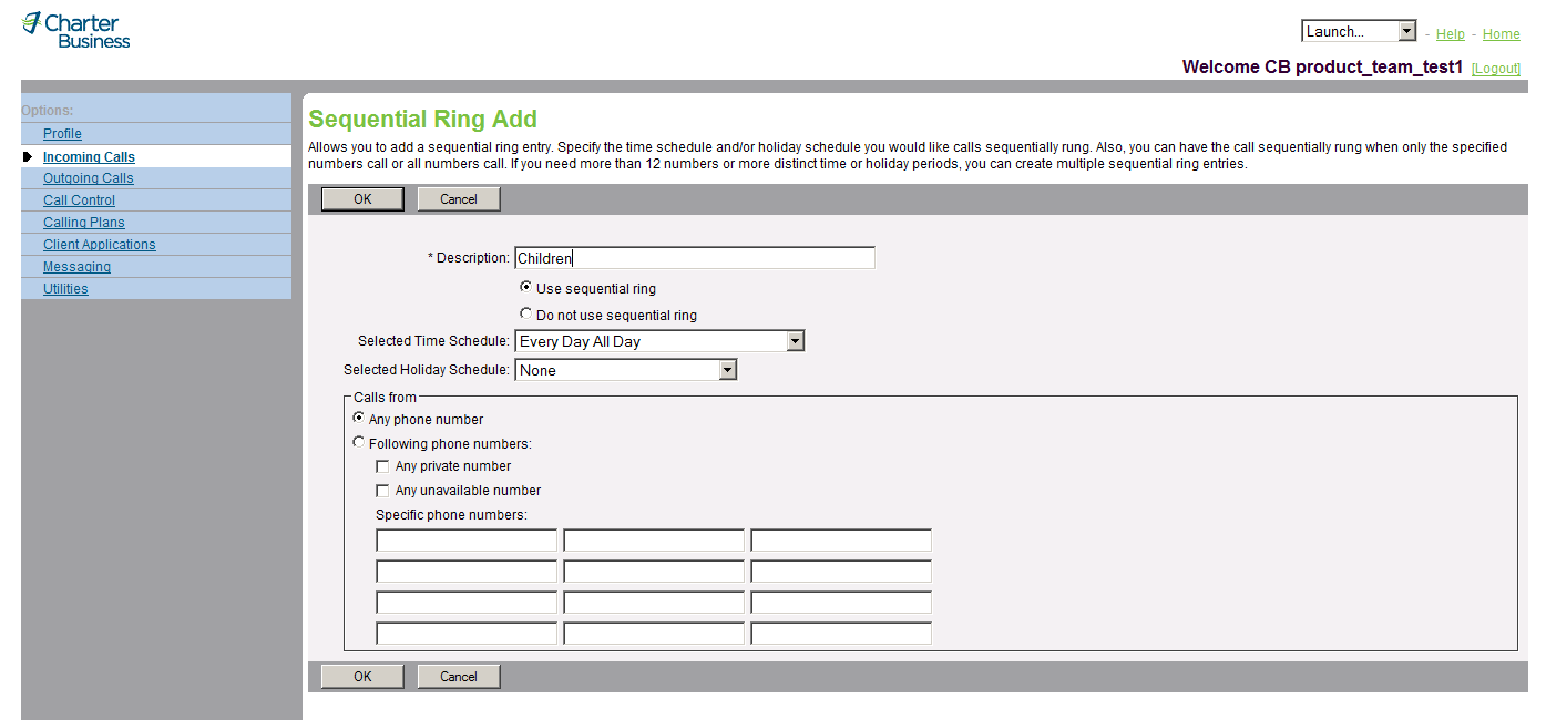 Figure 41 Sequential Ring Sequential Ring Add 1) On the User Incoming Calls menu page, click Sequential Ring. The User Sequential Ring page appears. 2) On the User Sequential Ring page, click Add.