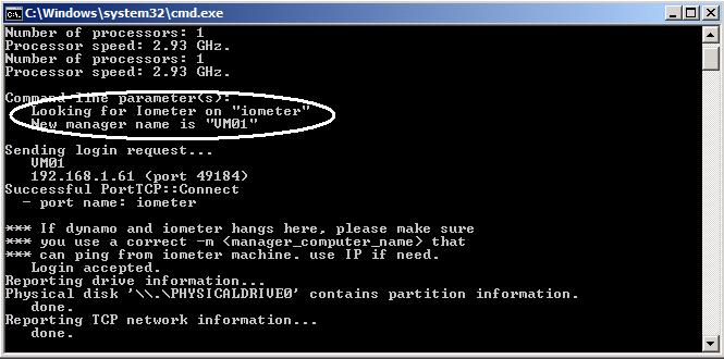 Figure 6 highlights the Dynamo command line for one SUT, in this case, a single VM. Prior to running Dynamo, the Iometer console should be running.