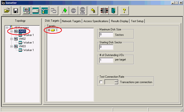 The Iometer Disk Targets tab shown in Figure 1 highlights the SUT computer names or IP addresses and the disk drives that were used for testing.