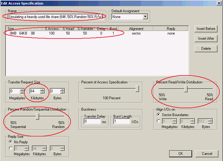 Figure 3 highlights the custom Access Specifications used in the HP testing for Hyper-V R2.