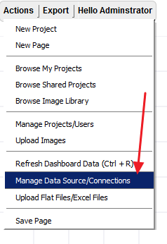 "Connect to the Excel File Go to the Action menu and select ""Manage Data"