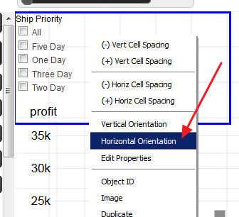 "15. 16. Select ""Horizontal Orientation"" 17. Drag the blue border to make room for horizontal placement so that all checkboxes are in same row 18."