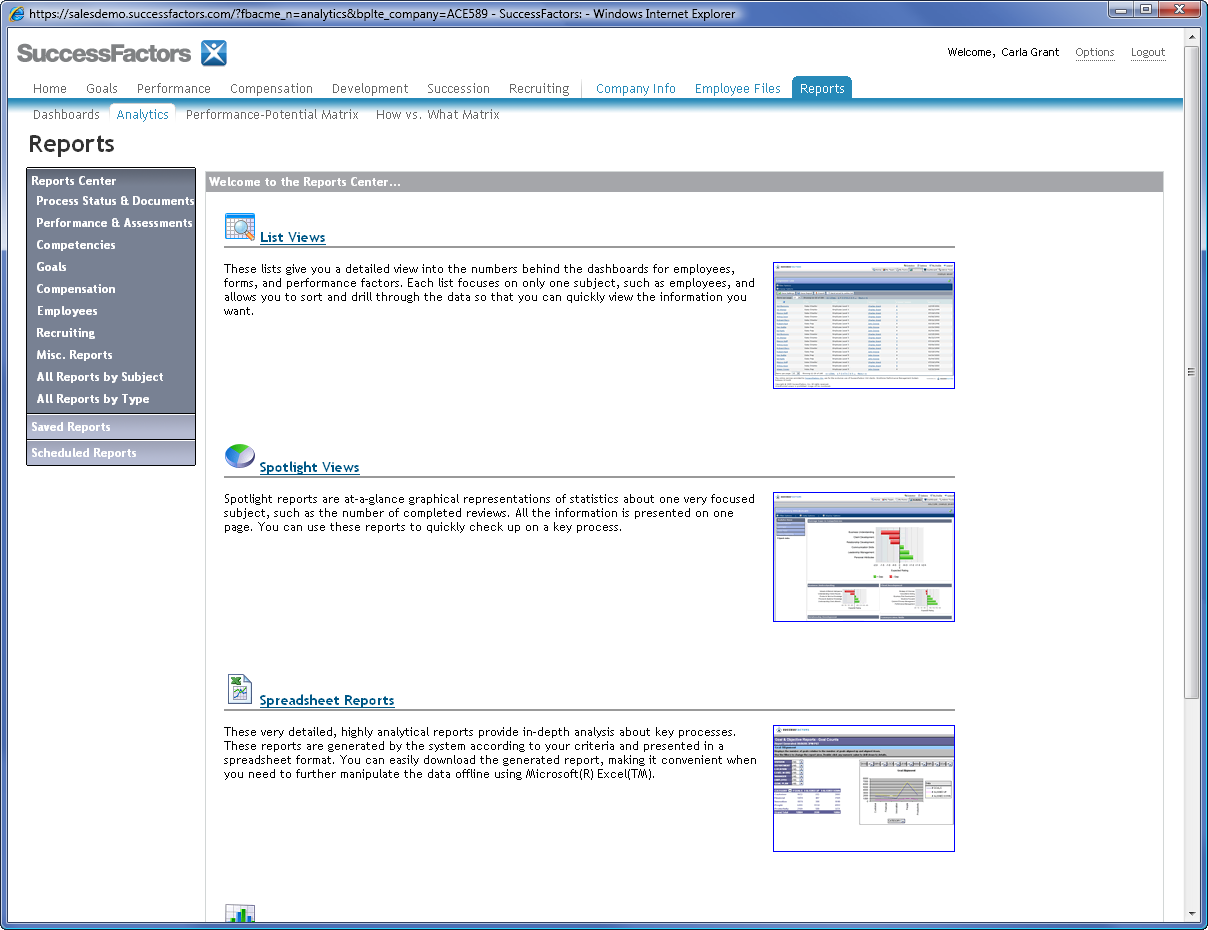 Analytics SuccessFactors provides several detailed reports that include in-depth analysis about key processes and forms.