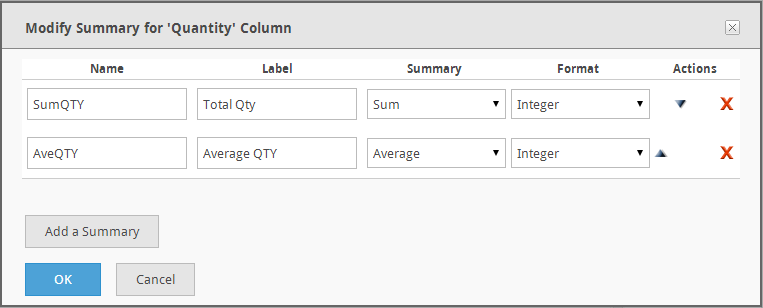 Page 57 To manage summary values: 1. Click to add a summary value for a specific column. 2. Click the Add an Aggregate button on the Aggregates dialog. 3.