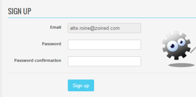 New user (2/3) Browser opens a sign up page where email is the user name.