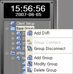 3.3.1.2 DVR List 1 Add DVR List Right-click on the relevant group, and select Add DVR from the hot menu.