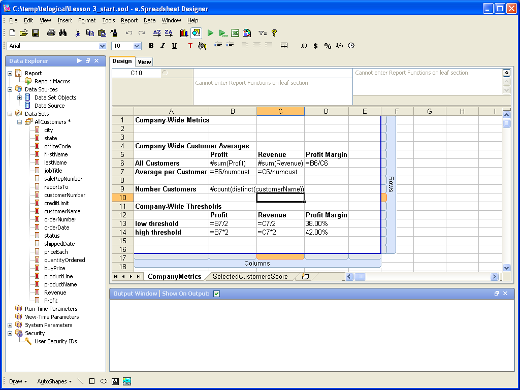 Specifying the Layout e.spreadsheet Designer allows developers and analysts to specify how the data should be laid out within a spreadsheet.