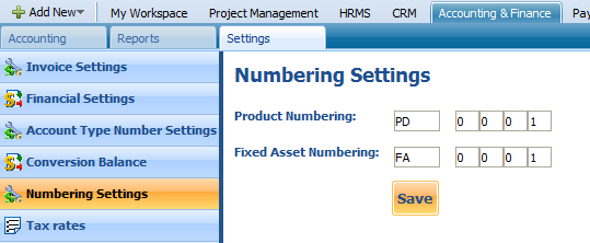 NUMBERING SETTINGS Product numbering and Fixed Asset numbering can be found under Numbering settings.