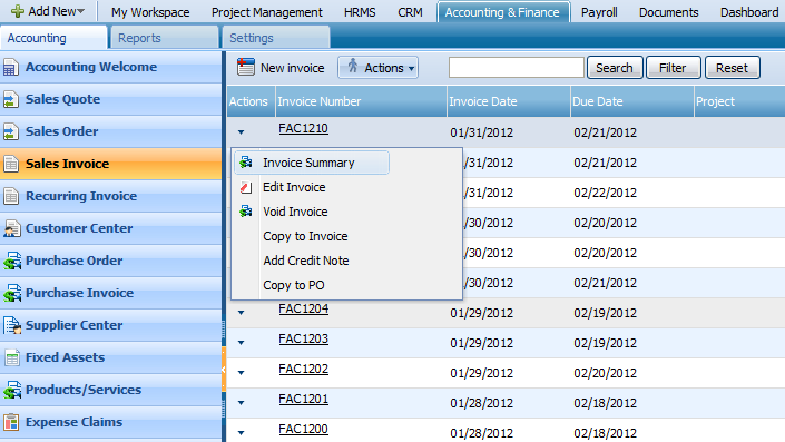 ACTIONS LIST 2 By default the Actions list drop-down is available on the first column of the Sales Invoice list.