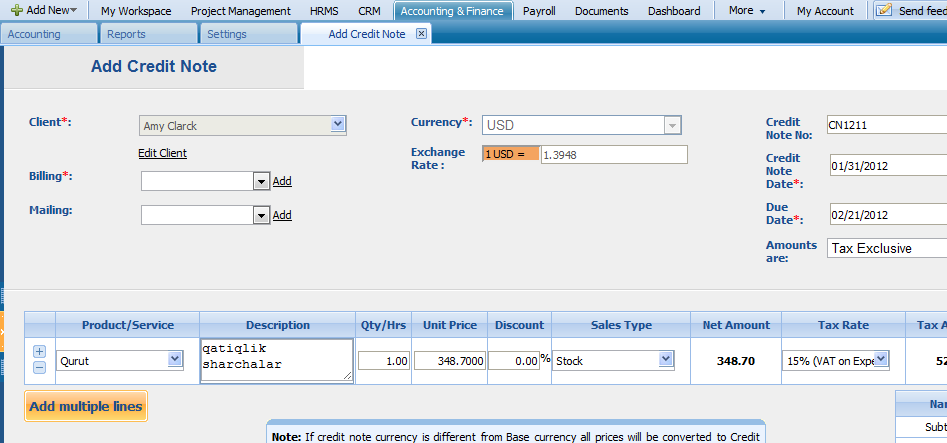 Add Credit Note To add a credit note, click on the Add Credit Note button through Actions List of Sales Invoice and fill in the form appeared: Copy to PO Copy to PO function in the action drop-down