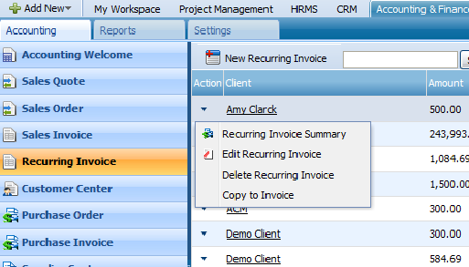 ACTIONS LIST By default the Actions list drop-down is available on the first column of the Recurring Invoice list.
