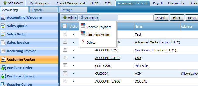 Add Prepayment Prepayment can be added through Actions list