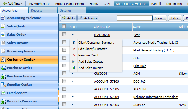 ACTIONS LIST 2 By default the Actions list drop-down is available on the first column of the Customer Center list.