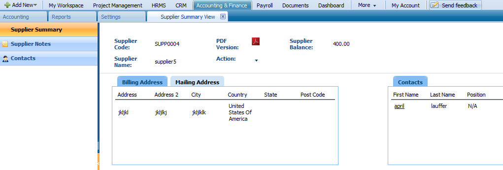 To view supplier summary, click on the Supplier Summary from the Actions List drop down of Supplier Center section.