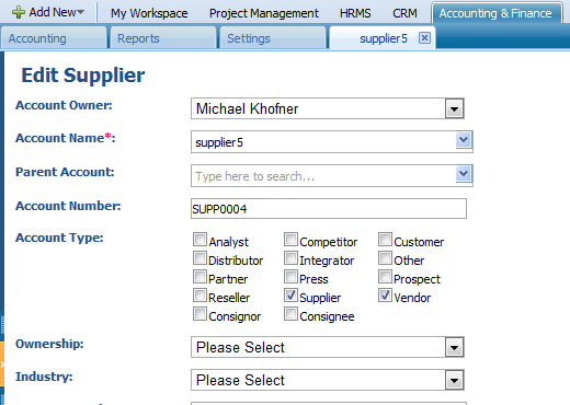 Remove Supplier/Bill To remove the supplier from the list, click on the