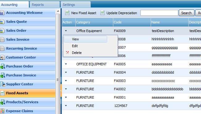 UPDATE DEPRECIATION This feature brings the depreciation calculation up to date and displays the current accumulated depreciation in the accounts.
