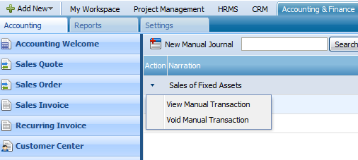 ACTIONS LIST By default the Actions list drop-down is available on the first column of the Manual Transactions list.
