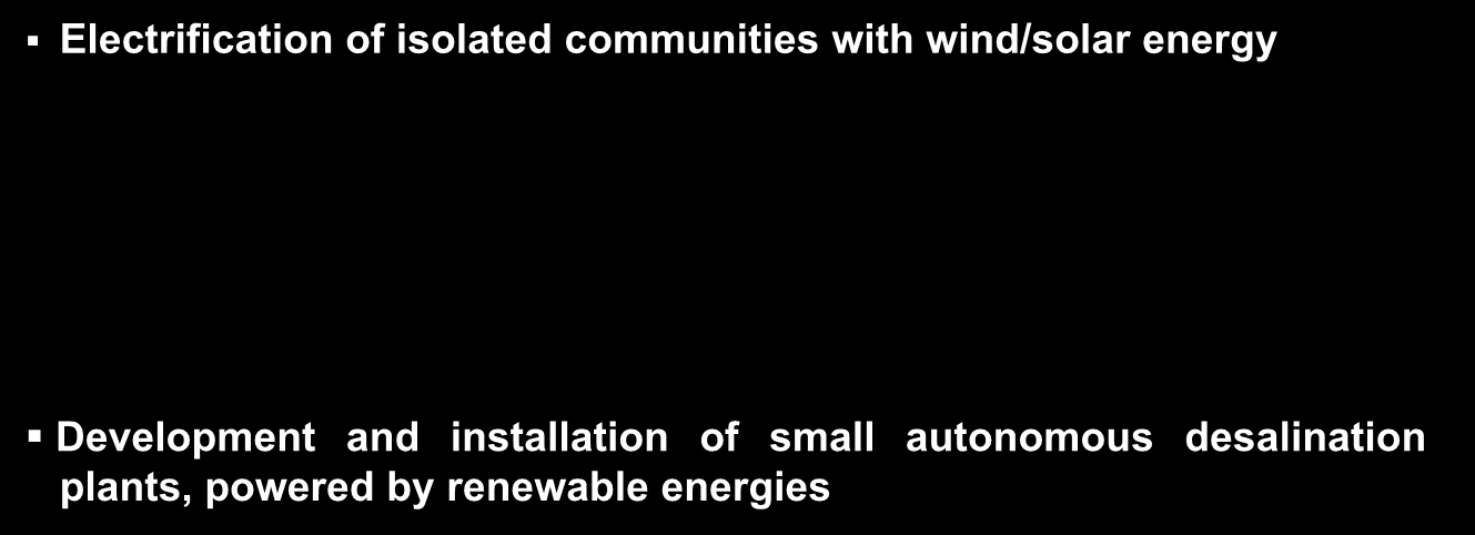 Technology transfer examples (I) ITC Experience Electrification of isolated communities with wind/solar