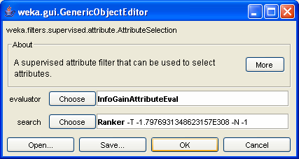 Attribute Selection (using filters) Choose filters/supervised/attribute/attributeselection