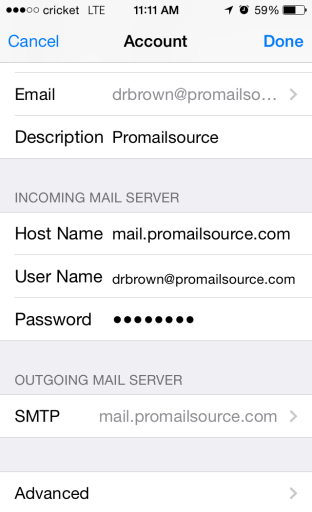 Choose IMAP at top of screen, then make sure your settings are as follows for both INCOMING and OUTGOING MAIL SERVER : Host name: mail.promailsource.