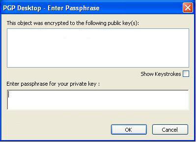 A pop up window will be displayed. Enter the passphrase and click OK. Figure 32.