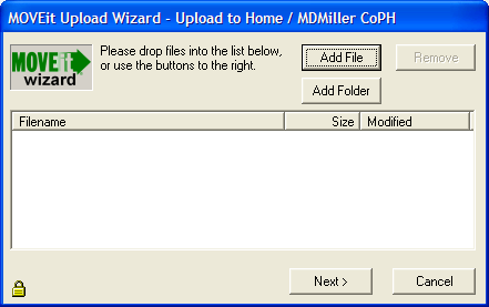 7) To upload the file you wish to send, click on CLICK HERE to Launch the Upload Wizard You should receive a new screen the following: 8) Click on Add File 9) Browse to the file that you wish to
