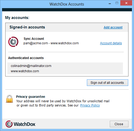 Signing ut 1. Right-click the WatchDx icn in the taskbar, and select My accunts. The Signed-in accunts area displays a list f email addresses yu use t sign in t WatchDx.